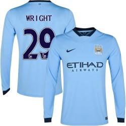 Men's 29 Richard Wright Manchester City FC Jersey - 14/15 Spain Football Club Nike Replica Sky Blue Home Soccer Long Sleeve Shir