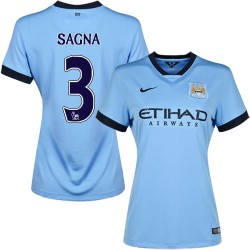 Women's 3 Bacary Sagna Manchester City FC Jersey - 14/15 Spain Football Club Nike Authentic Sky Blue Home Soccer Short Shirt