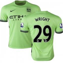 Men's 29 Richard Wright Manchester City FC Jersey - 15/16 Premier League Club Nike Authentic Light Green Third Soccer Short Shir