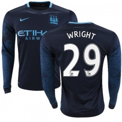 Men's 29 Richard Wright Manchester City FC Jersey - 15/16 Premier League Club Nike Authentic Navy Away Soccer Long Sleeve Shirt