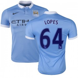 Men's 64 Rony Lopes Manchester City FC Jersey - 15/16 Spain Football Club Nike Authentic Sky Blue Home Soccer Short Shirt