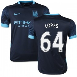 Youth 64 Rony Lopes Manchester City FC Jersey - 15/16 Spain Football Club Nike Authentic Navy Away Soccer Short Shirt
