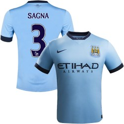 Youth 3 Bacary Sagna Manchester City FC Jersey - 14/15 Spain Football Club Nike Replica Sky Blue Home Soccer Short Shirt