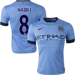 Men's 8 Samir Nasri Manchester City FC Jersey - 14/15 Spain Football Club Nike Authentic Sky Blue Home Soccer Short Shirt