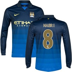 Men's 8 Samir Nasri Manchester City FC Jersey - 14/15 Spain Football Club Nike Replica Dark Blue Away Soccer Long Sleeve Shirt