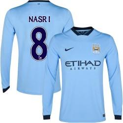 Men's 8 Samir Nasri Manchester City FC Jersey - 14/15 Spain Football Club Nike Replica Sky Blue Home Soccer Long Sleeve Shirt