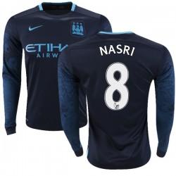 Men's 8 Samir Nasri Manchester City FC Jersey - 15/16 Premier League Club Nike Replica Navy Away Soccer Long Sleeve Shirt
