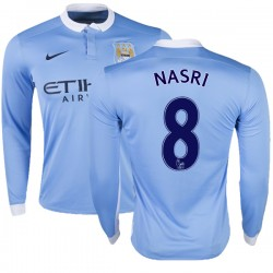 Men's 8 Samir Nasri Manchester City FC Jersey - 15/16 Premier League Club Nike Replica Sky Blue Home Soccer Long Sleeve Shirt