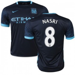 Men's 8 Samir Nasri Manchester City FC Jersey - 15/16 Spain Football Club Nike Authentic Navy Away Soccer Short Shirt