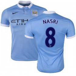 Men's 8 Samir Nasri Manchester City FC Jersey - 15/16 Spain Football Club Nike Authentic Sky Blue Home Soccer Short Shirt