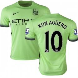 Men's 10 Sergio Aguero Manchester City FC Jersey - 15/16 Premier League Club Nike Authentic Light Green Third Soccer Short Shirt
