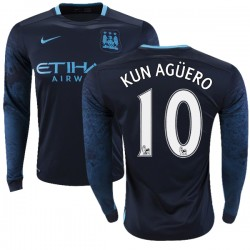 Men's 10 Sergio Aguero Manchester City FC Jersey - 15/16 Premier League Club Nike Replica Navy Away Soccer Long Sleeve Shirt