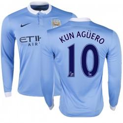 Men's 10 Sergio Aguero Manchester City FC Jersey - 15/16 Premier League Club Nike Replica Sky Blue Home Soccer Long Sleeve Shirt