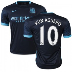 Men's 10 Sergio Aguero Manchester City FC Jersey - 15/16 Spain Football Club Nike Authentic Navy Away Soccer Short Shirt