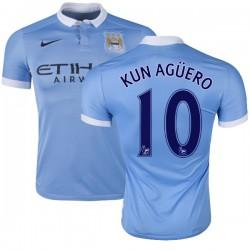 Men's 10 Sergio Aguero Manchester City FC Jersey - 15/16 Spain Football Club Nike Authentic Sky Blue Home Soccer Short Shirt