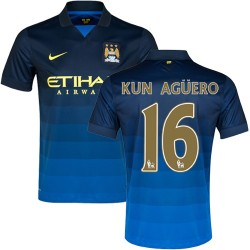 Men's 16 Sergio Aguero Manchester City FC Jersey - 14/15 Spain Football Club Nike Authentic Dark Blue Away Soccer Short Shirt