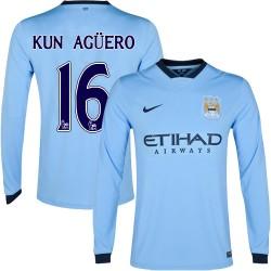 Men's 16 Sergio Aguero Manchester City FC Jersey - 14/15 Spain Football Club Nike Authentic Sky Blue Home Soccer Long Sleeve Shi