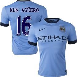 Men's 16 Sergio Aguero Manchester City FC Jersey - 14/15 Spain Football Club Nike Authentic Sky Blue Home Soccer Short Shirt