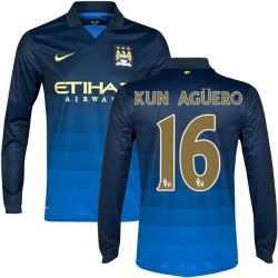 Men's 16 Sergio Aguero Manchester City FC Jersey - 14/15 Spain Football Club Nike Replica Dark Blue Away Soccer Long Sleeve Shir