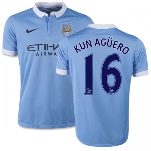 new arrivals 4631b 4a998 Youth 16 Sergio Aguero Manchester City FC Jersey - 15/16 Spain Football  Club Nike Authentic Sky Blue Home Soccer Short Shirt