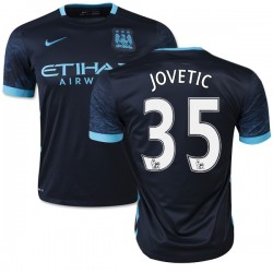Men's 35 Stevan Jovetic Manchester City FC Jersey - 15/16 Spain Football Club Nike Authentic Navy Away Soccer Short Shirt