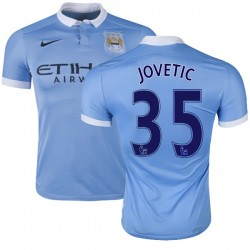 Men's 35 Stevan Jovetic Manchester City FC Jersey - 15/16 Spain Football Club Nike Authentic Sky Blue Home Soccer Short Shirt