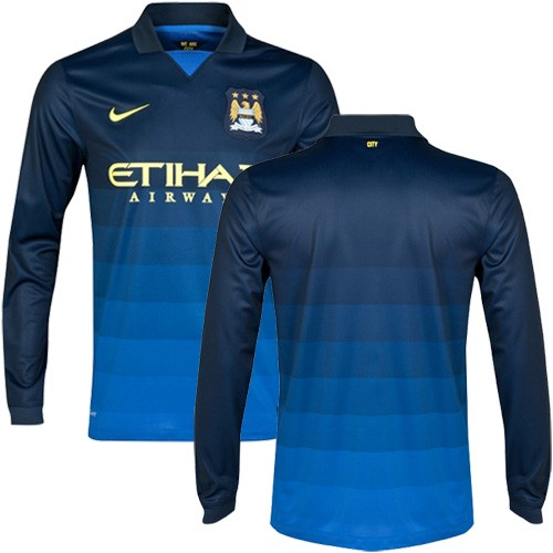 buy popular 62b6d 10db7 Men's Blank Manchester City FC Jersey - 14/15 Spain Football Club Nike  Authentic Dark Blue Away Soccer Long Sleeve Shirt