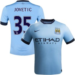 Youth 35 Stevan Jovetic Manchester City FC Jersey - 14/15 Spain Football Club Nike Authentic Sky Blue Home Soccer Short Shirt