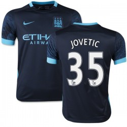 Youth 35 Stevan Jovetic Manchester City FC Jersey - 15/16 Spain Football Club Nike Authentic Navy Away Soccer Short Shirt