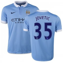 Youth 35 Stevan Jovetic Manchester City FC Jersey - 15/16 Spain Football Club Nike Authentic Sky Blue Home Soccer Short Shirt