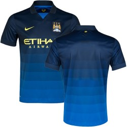 Men's Blank Manchester City FC Jersey - 14/15 Spain Football Club Nike Authentic Dark Blue Away Soccer Short Shirt