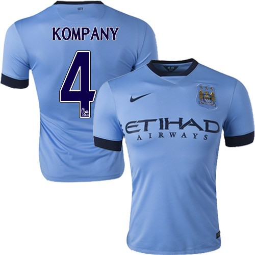 reputable site 47ddf 79420 Men's 4 Vincent Kompany Manchester City FC Jersey - 14/15 Spain Football  Club Nike Authentic Sky Blue Home Soccer Short Shirt