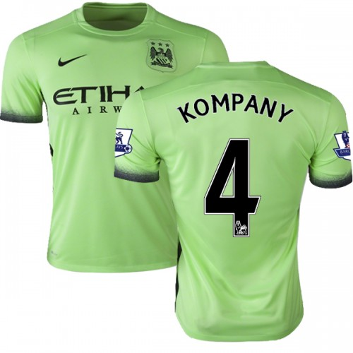 competitive price 66e51 1dd2d Men's 4 Vincent Kompany Manchester City FC Jersey - 15/16 Premier League  Club Nike Authentic Light Green Third Soccer Short Shirt