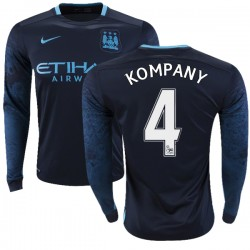 Men's 4 Vincent Kompany Manchester City FC Jersey - 15/16 Premier League Club Nike Authentic Navy Away Soccer Long Sleeve Shirt