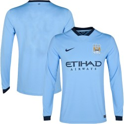 Men's Blank Manchester City FC Jersey - 14/15 Spain Football Club Nike Authentic Sky Blue Home Soccer Long Sleeve Shirt