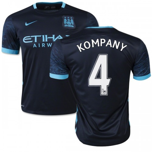 best service 8a18e d1b99 Men's 4 Vincent Kompany Manchester City FC Jersey - 15/16 Spain Football  Club Nike Authentic Navy Away Soccer Short Shirt