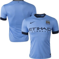 Men's Blank Manchester City FC Jersey - 14/15 Spain Football Club Nike Authentic Sky Blue Home Soccer Short Shirt