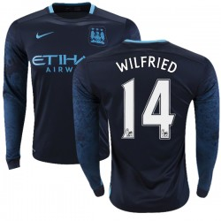 Men's 14 Wilfried Bony Manchester City FC Jersey - 15/16 Premier League Club Nike Authentic Navy Away Soccer Long Sleeve Shirt