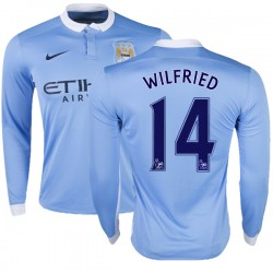Men's 14 Wilfried Bony Manchester City FC Jersey - 15/16 Premier League Club Nike Replica Sky Blue Home Soccer Long Sleeve Shirt