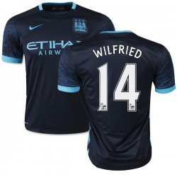 Men's 14 Wilfried Bony Manchester City FC Jersey - 15/16 Spain Football Club Nike Authentic Navy Away Soccer Short Shirt