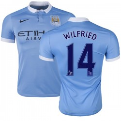 Men's 14 Wilfried Bony Manchester City FC Jersey - 15/16 Spain Football Club Nike Replica Sky Blue Home Soccer Short Shirt