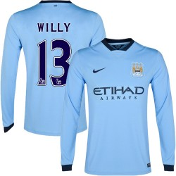 Men's 13 Willy Caballero Manchester City FC Jersey - 14/15 Spain Football Club Nike Replica Sky Blue Home Soccer Long Sleeve Shi