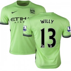 Men's 13 Willy Caballero Manchester City FC Jersey - 15/16 Premier League Club Nike Authentic Light Green Third Soccer Short Shi