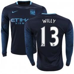 Men's 13 Willy Caballero Manchester City FC Jersey - 15/16 Premier League Club Nike Replica Navy Away Soccer Long Sleeve Shirt