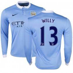 Men's 13 Willy Caballero Manchester City FC Jersey - 15/16 Premier League Club Nike Replica Sky Blue Home Soccer Long Sleeve Shi