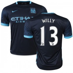 Men's 13 Willy Caballero Manchester City FC Jersey - 15/16 Spain Football Club Nike Authentic Navy Away Soccer Short Shirt