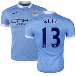 Men's 13 Willy Caballero Manchester City FC Jersey - 15/16 Spain Football Club Nike Replica Sky Blue Home Soccer Short Shirt