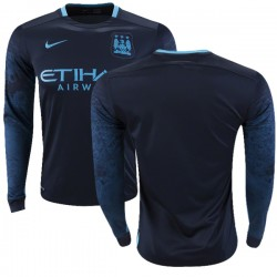 Men's Blank Manchester City FC Jersey - 15/16 Premier League Club Nike Authentic Navy Away Soccer Long Sleeve Shirt