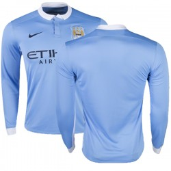 Men's Blank Manchester City FC Jersey - 15/16 Premier League Club Nike Authentic Sky Blue Home Soccer Long Sleeve Shirt