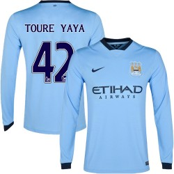 Men's 42 Yaya Toure Manchester City FC Jersey - 14/15 Spain Football Club Nike Authentic Sky Blue Home Soccer Long Sleeve Shirt